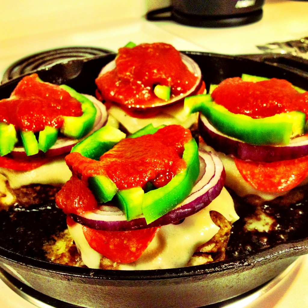 Topped off Supreme Pizza Burgers