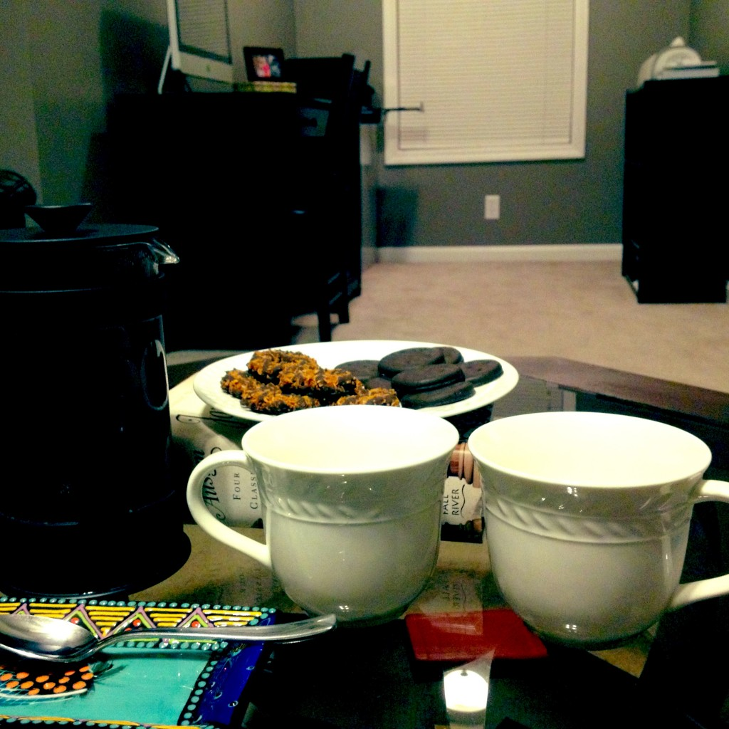 French Pressed Coffee & Girl Scout Cookies