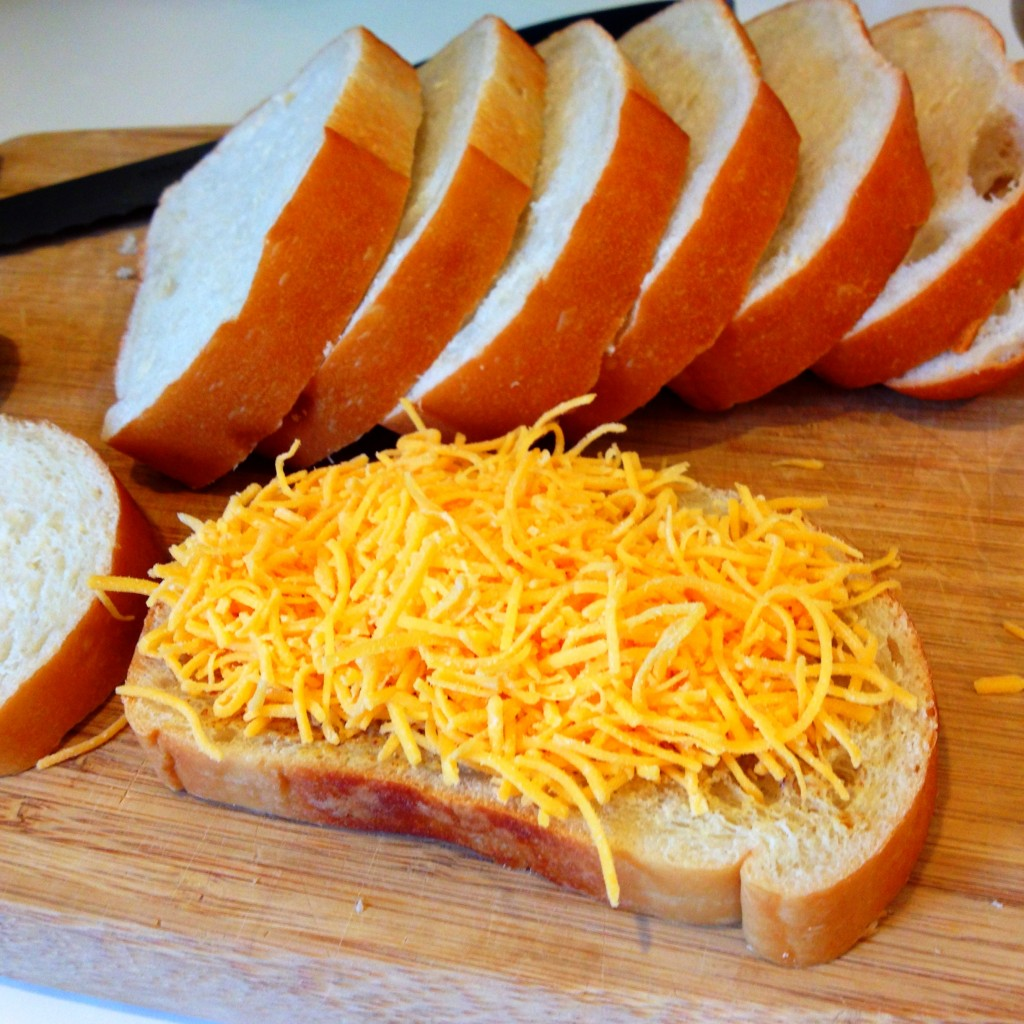 Shredded Cheddar Cheese on Sliced Bread