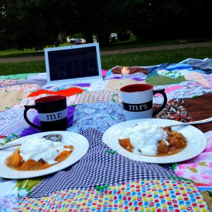 Movie on the Lawn + Peach Upside Down Cake