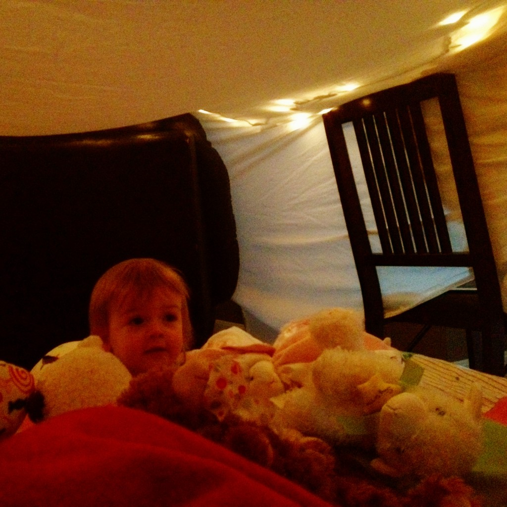Lily Enjoying the Homeade Fort