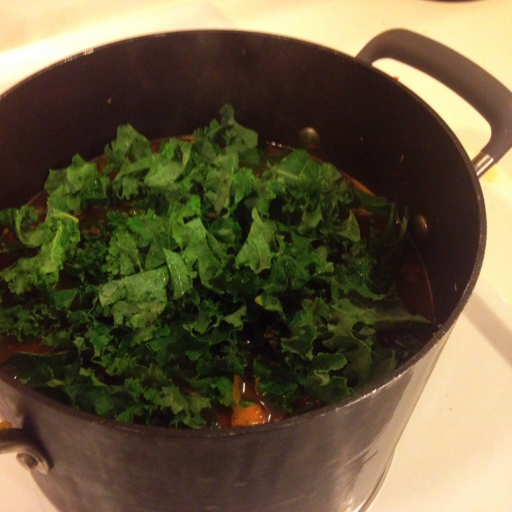 Adding Kale to the Winter Vegetable Soup