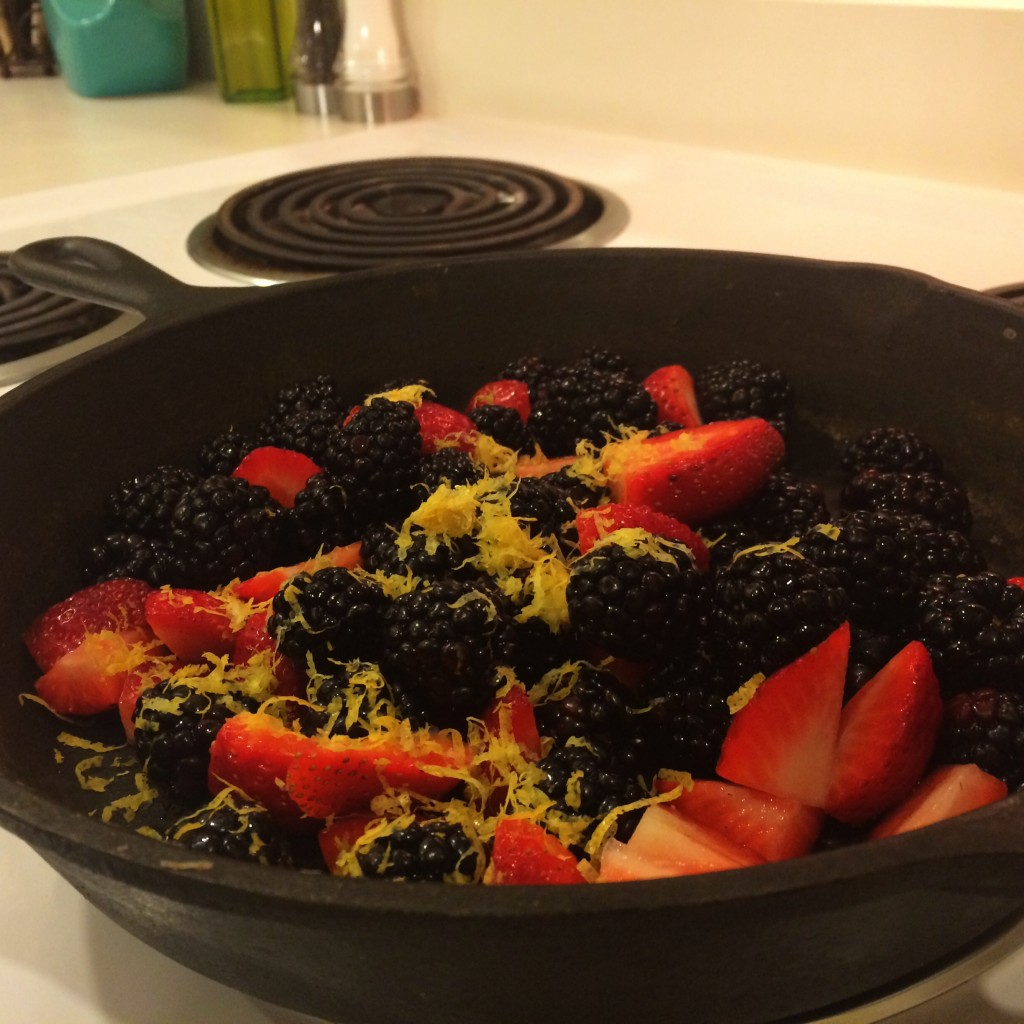 Berries & Lemon Zest for Good Eats Blackberry Grunt