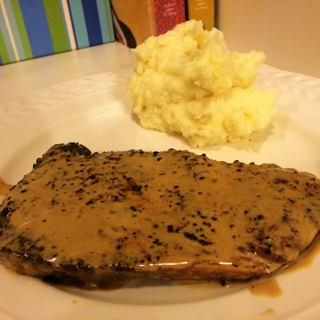 Finished Good Eats Steak au Poivre