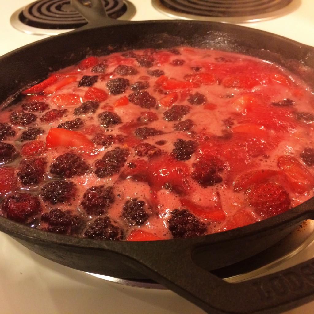 Simmering Berries for Good Eats Blackberry Grunt